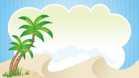 Kids Diploma certificate background design. Blank Kids Diploma certificate background design with cloud and coconut tree stock illustration
