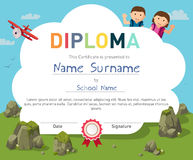 Kids Diploma certificate background design template stock illustration