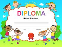 Kids Diploma certificate background design template Stock Photography
