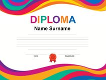 Kids Diploma certificate background design template. Vector illustration Royalty Free Stock Images