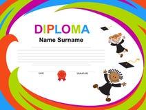 Kids Diploma certificate background design template stock illustration