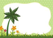 Kids Diploma certificate background. Design template vector illustration with flower, grass, cloud and nature theme stock illustration
