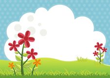 Kids Diploma certificate background design. Template vector illustration with flower, grass, cloud and nature theme stock illustration