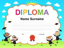 Kids Diploma certificate background design template Stock Photos