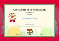 Kids Diploma or certificate of participation template with color. Ful background Royalty Free Stock Photography