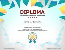 Kids Diploma or certificate template with awarded ribbon. For for preschool royalty free illustration