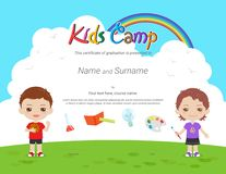 Kids Diploma or certificate template with colorful background for kid camp. With various activities ie sports, art, science royalty free illustration