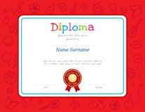 Kids Diploma or certificate template with colorful background for kid camp. With various activities ie music, sport, cooking, art royalty free illustration
