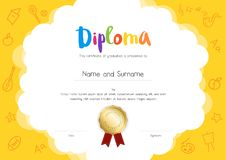 Kids Diploma or certificate template with hand drawing cartoon s. Tyle background vector illustration