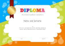 Kids Diploma or certificate template with hand drawing cartoon s. Tyle background stock illustration
