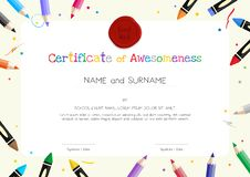dba0386e7c32cf Kids Diploma or certificate template with painting stuff border. For school  or preschool graduation royalty