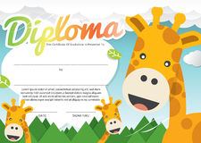 Kids Diploma Certificate Template. royalty free illustration