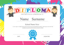 Kids diploma preschool certificate elementary school design temp. Late vector background royalty free illustration