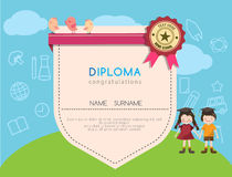 Kids diploma preschool certificate elementary school design template background. Vector illustrator stock illustration