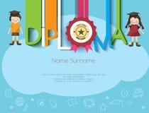 Kids diploma preschool certificate elementary school design Royalty Free Stock Photos