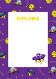 Kids diploma with space background. Royalty Free Stock Photos