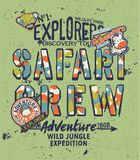 Kids discovery team safari adventure. Grunge vector print for children with embroidery patches Stock Photos