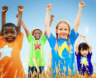 Kids Diverse Playing Sky Field Young Concept Royalty Free Stock Photography