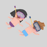 Kids diving with snorkel kit.  Royalty Free Stock Photography