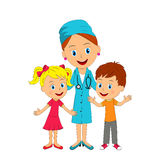 Kids and doctor Royalty Free Stock Images