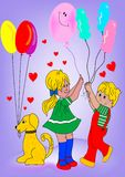 Kids and dog. With balloons Stock Photo