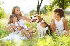 Kids with dog Royalty Free Stock Photography