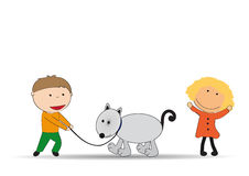 Kids and dog Royalty Free Stock Images