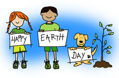 Kids and dog holding Happy Earth Day signs Stock Photography