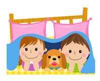 Kids and dog in the quilt Stock Photos