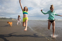 Kids and dog running at beach Stock Image