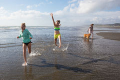 Kids and dog running at beach Royalty Free Stock Images