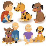 Kids with dogs royalty free illustration