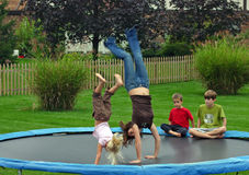 Kids Doing Backhandsprings royalty free stock images