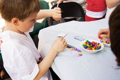 Kids doing crafts Stock Image