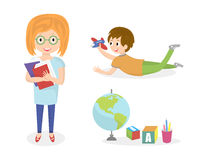 Kids doing different activities. Children painting and study. Ve. Ctor illustration Royalty Free Stock Image