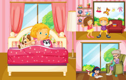 Kids doing different activities at home stock illustration