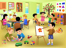 Kids doing different activities in kindergarten. Cartoon illustration of kids doing different activities in kindergarten with lots of toys around Stock Photos