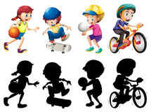 Kids doing different sport set with silhouette Stock Images