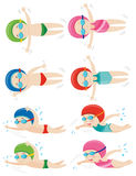Kids doing different swimming strokes. Illustration Stock Image