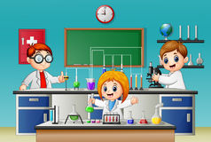 Kids doing experiment in the lab. Illustration of Kids doing experiment in the lab vector illustration