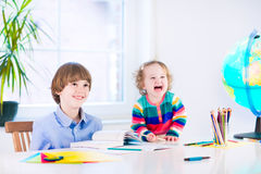 Kids doing homework Royalty Free Stock Images