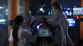 Kids doing an humanoid alien operation. UFO theme. kids learn humanoid alien stock video footage