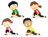 Kids doing leg stretches stock illustration