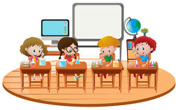 Kids doing science experiment in classroom Stock Images
