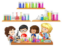 Kids doing science experiment and set of beakers. Illustration stock illustration