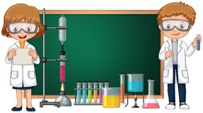 Kids doing science lab experiment with blackboard in background. Illustration vector illustration