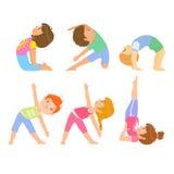 Kids Doing Simple Yoga Poses Stock Photos