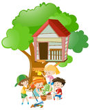 Kids doing things in the garden. Illustration Stock Photography