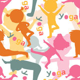 Kids doing yoga silhouettes pattern. Kids doing yoga silhouettes seamless pattern. Vector illustration Royalty Free Stock Photography