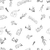 Kids Doodle with cars and humans. Hand-drawn baby houses, people, cars in a seamless pattern Royalty Free Stock Photo